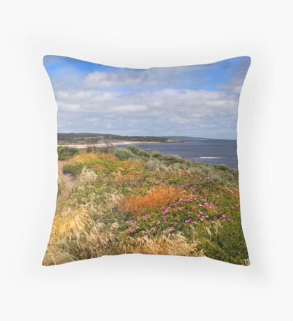 Flora on the cliff top Throw Pillow