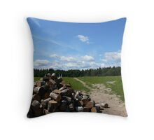 country landscape in Russia Throw Pillow