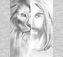 Jesus/Lion Mens V-Neck T-Shirt