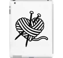 Wool heart knitting needles iPad Case/Skin