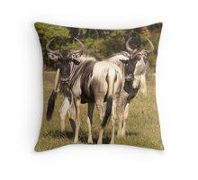 Blue Wildebeest Throw Pillow