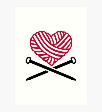 Red wool heart knitting Art Print