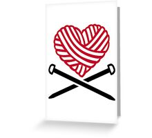Red wool heart knitting Greeting Card