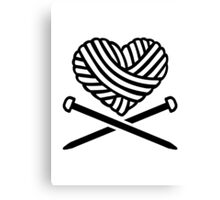 Wool heart crossed needles Canvas Print