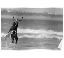 Kite surfer in Torquay 1 Poster