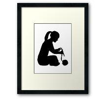 Knitting girl woman Framed Print