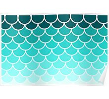 Ombre Fish Scale Pattern Poster