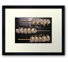 Playing the raw prawn Framed Print