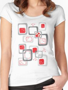 Retro Red Cherry Squares Women's Fitted Scoop T-Shirt