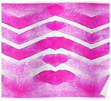 Watercolor  pink chevron  Poster