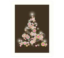 Pink Retro Circles Christmas Tree Art Print