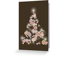 Pink Retro Circles Christmas Tree Greeting Card
