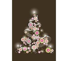 Pink Retro Circles Christmas Tree Photographic Print