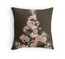 Pink Retro Circles Christmas Tree Throw Pillow