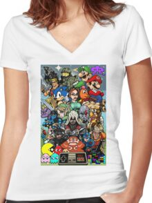 Video Game History Women's Fitted V-Neck T-Shirt