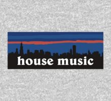 House music, Chicago skyline silhouette by mustbtheweather