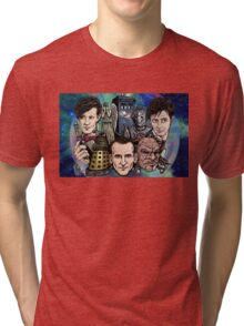 Faces Of Dr. Who Tri-blend T-Shirt