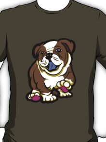 Happy Bulldog Puppy Brown  T-Shirt