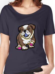 Happy Bulldog Puppy Brown  Women's Relaxed Fit T-Shirt