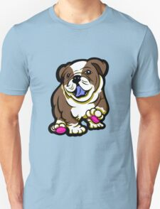 Happy Bulldog Puppy Brown  T-Shirt