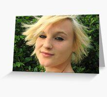 Blonde Hair Flick Greeting Card