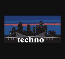 Techno, Detroit skyline silhouette by mustbtheweather