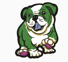 Happy Bulldog Puppy Green and White  Kids Clothes