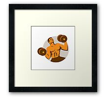 Strongman Crossfit Lifting Dumbbells Circle Retro Framed Print