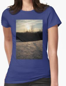Snowy Winter Sunset Landscape Womens Fitted T-Shirt