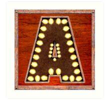 Vintage Lighted Sign - Monogram Letter A Art Print