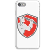 Electrician Holding Lightning Bolt Shield Retro iPhone Case/Skin
