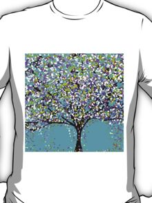 The Tree Blue Purple Black and White Oil Painting T-Shirt