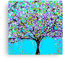 The Tree Blue Purple Black and White Oil Painting Canvas Print