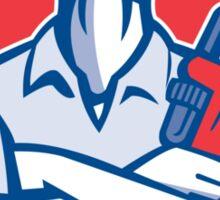Handyman Plumber Monkey Wrench Shield Retro Sticker