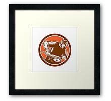 Metalworker Operating Grinder Woodcut Circle Retro Framed Print