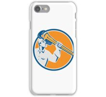 Plumber Wielding Monkey Wrench Circle Retro iPhone Case/Skin