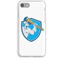 Plumber Wielding Monkey Wrench Shield Retro iPhone Case/Skin