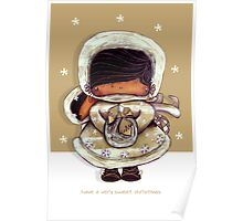 Christmas Card Snow Flower Poster
