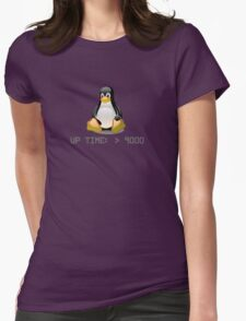 Linux - Uptime Over 9000 Womens Fitted T-Shirt