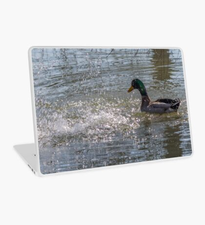 ducks are swimming in the lake Laptop Skin