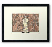 gel pen drawing of ashurnasirpal and eagle-headed men Framed Print