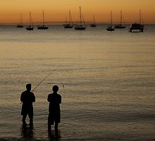Fishermen on Magnetic Island at Dusk by Josha Inglis