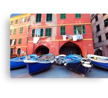 Vernazza square, boats Canvas Print