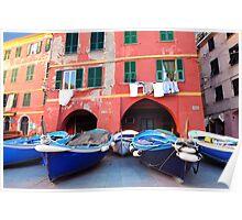 Vernazza square, boats Poster