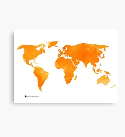 Yellow world map silhouette for sale Canvas Print