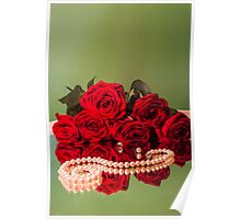 rose flowers red green background Poster