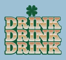 DRINK DRINK DRINK with green shamrock for St Patrick's day! One Piece - Short Sleeve