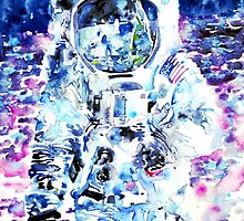 MAN on the MOON - watercolor portrait by lautir