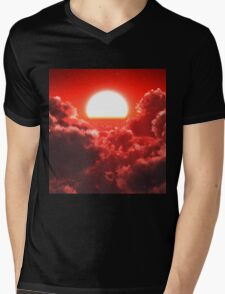 Cloudscape Red Mens V-Neck T-Shirt