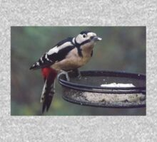 Great Spotted Woodpecker Eating Peanut Cake Kids Clothes